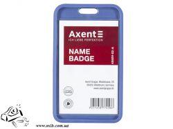 Бейдж Axent 54х85мм матовый вертикальный синий 4550
