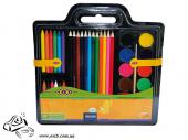 Набор для рисования (краски, цветніе карандаши, восковій мел, натуральнія кисточка, точилка)