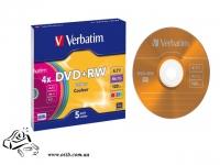 Диск DVD+RW Verbatim 4x 4.7Gb slim 5 шт