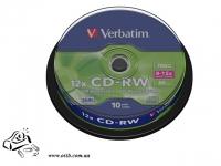 Диски CD-RW Verbatim 10 шт 8х-12x 700Mb