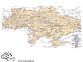 Карта автодорог Украины 110х160см М1:875 000 ламинация/планки