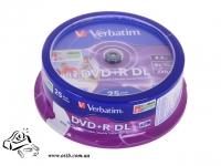Диски DVD+R Verbatim 8.5Gb DL 8x Cake box 25 757