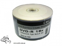 Диски DVD-R CMC 4.7Gb 16x bulk 50 Full Printable Glossy white